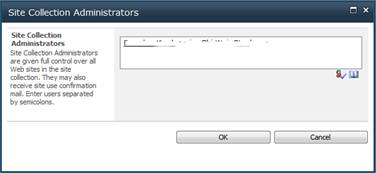 Site Collection Administrators Window