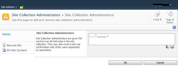 Site Collection Administrators List Image